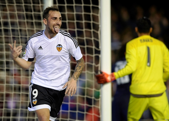 Paco Alcacer of Valencia celebrates scoring his team's second goal during the La Liga match