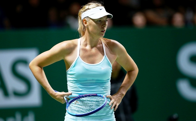 Maria Sharapova of Russia reacts during a match