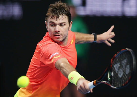 Stan Wawrinka of Switzerland plays a backhand