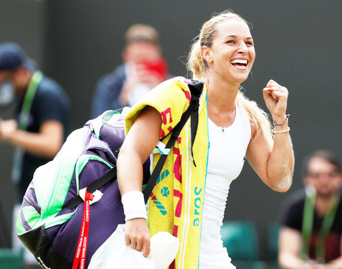 Slovakia's Dominika Cibulkova celebrates winning her match against Poland's Agnieszka Radwanska on Monday