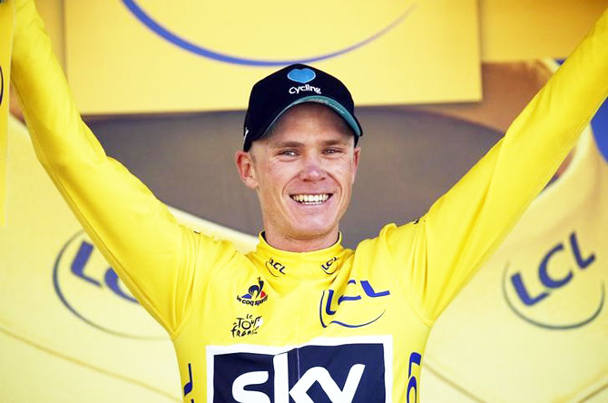 Team Sky rider Chris Froome, new yellow jersey leader, reacts on the podium after winning the 184-km (114,5 miles) Stage 8 from Pau to Bagneres-de-Luchon, France, during the Tour de France on Saturday