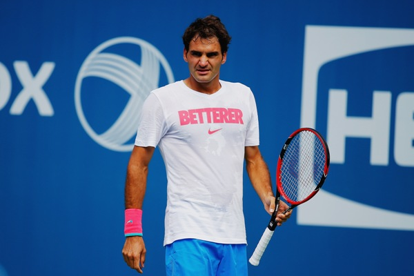 Roger Federer at a training session