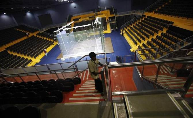 A general view of a squash stadium inside the Siri Fort Sports Complex in Delhi, one of the venues for the 2010 Commonwealth Games