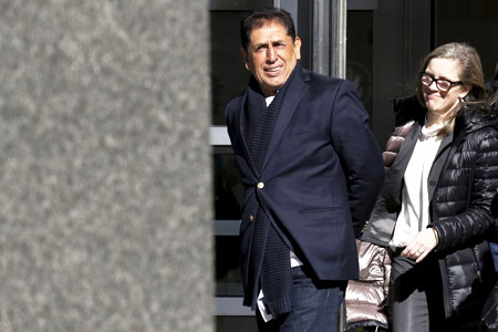 Former Guatemalan football federation president Brayan Jimenez (left) exits the Brooklyn Federal Courthouse in the Brooklyn borough of New York March 2, 2016