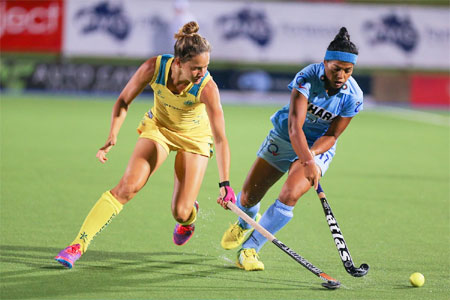 Action from the hockey match played between India and Australia at the Four Nations Hockey Tournament in Darwin on Friday