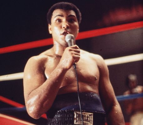 American boxer Muhammad Ali addressing the crowd before his fight with Leon Spinks in New Orleans, in which Ali went on to regain the World Heavyweight title