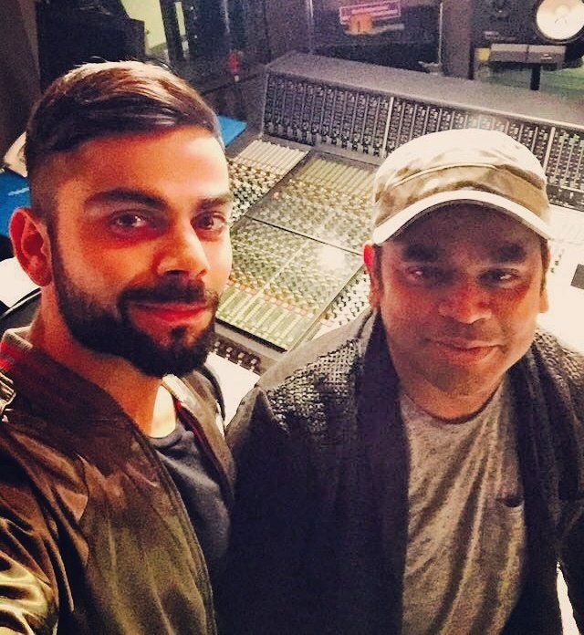 India cricketer Virat Kohli and AR Rahman pose for a self as they work together for an anthem for Premier Futsal League