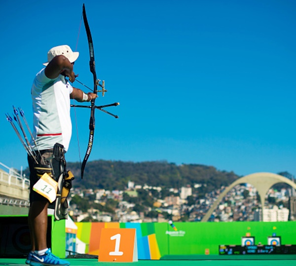 Jayanta Talukdar of India prepares to shoot during the Archery test event for the Rio 2016 Olympic Games