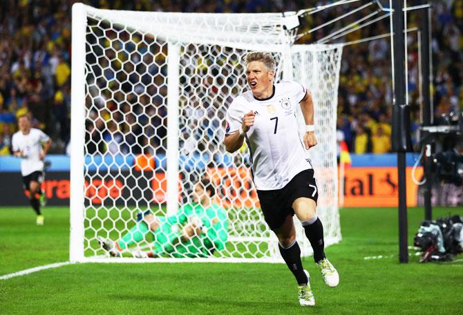 Germany's Bastian Schweinsteiger celebrates scoring his team's second goal