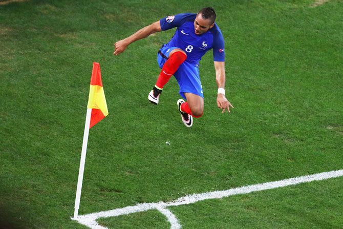 France s Dimitri Payet celebrates after scoring his team s second goal  against Albania during their Euro 2016 5b17e54640e89