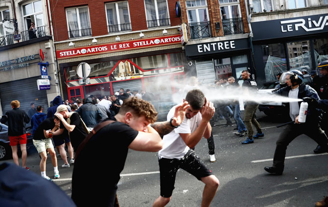 England football fans clash with police in Lille on Wednesday