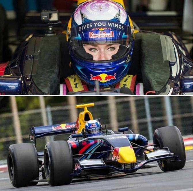 Skier Lindsey Vonn drives Formula Renault