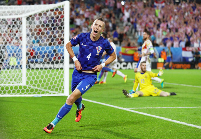 Croatia's Ivan Perisic celebrates scoring his team's winning goal against Spain during the Euro 2016 Group D match at Stade Matmut Atlantique, in Bordeaux, on Tuesday