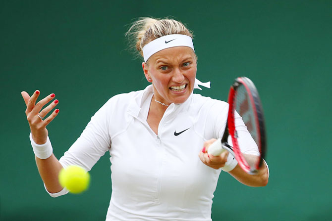 The Czech Republic's Petra Kvitova plays a forehand during her second round match against Romania's Sorana Cirstea
