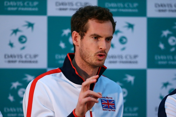 Andy Murray of Great Britain talks during a press conference
