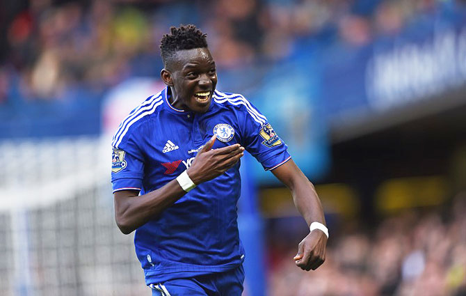 Chelsea's Bertrand Traore celebrates scoring their first goal against Stoke City at Stamford Bridge on SaturDay