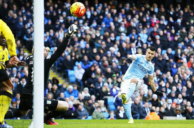 Manchester City's Sergio Aguero shoots at goal during their match against Aston Villa at Etihad Stadium on Saturday