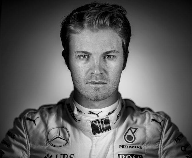 Mercedes GP's German driver Nico Rosberg poses for a portrait during F1 winter testing at Circuit de Catalunya in Montmelo, Spain