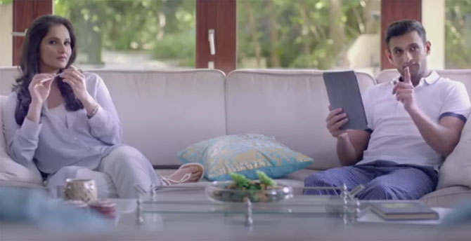 A video grab of Sania Mirza and Shoaib Malik in the new TV commercial