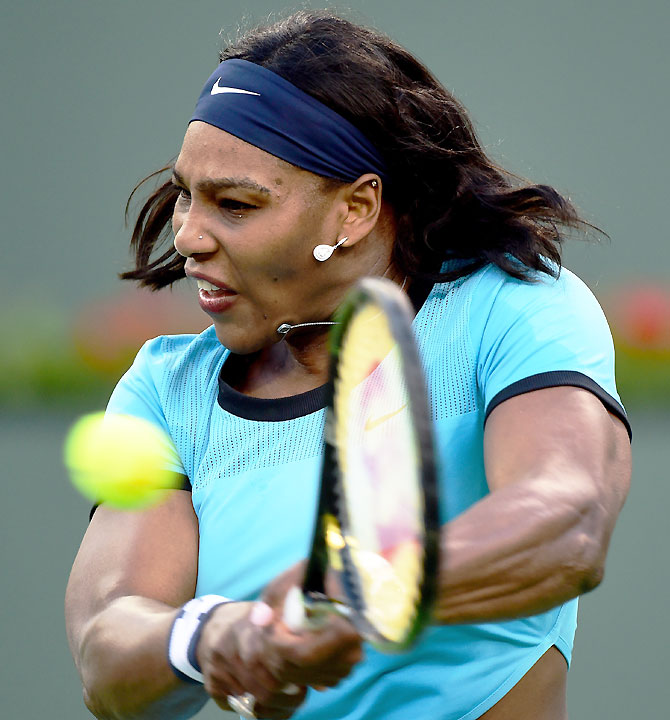 Serena Williams hits a backhand during her match against Kateryna Bondarenko of Ukraine