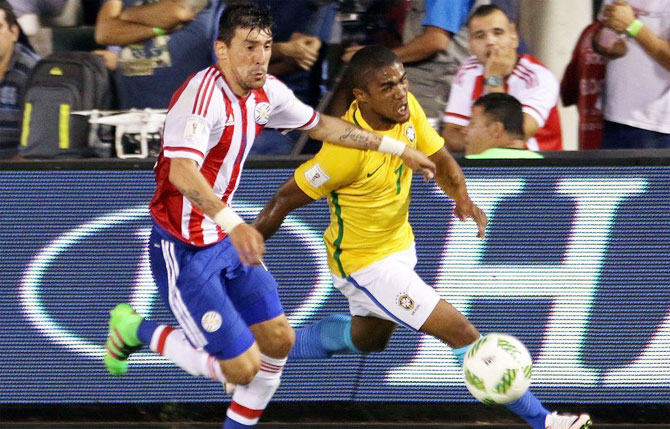 Action from the match between Brazil and Paraguay