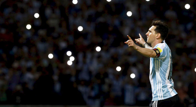 Argentina's Lionel Messi celebrates after scoring against Bolivia during their World Cup 2018 qualifier at the Mario Alberto Kempes Stadium, in Cordoba, Argentina, on Tuesday