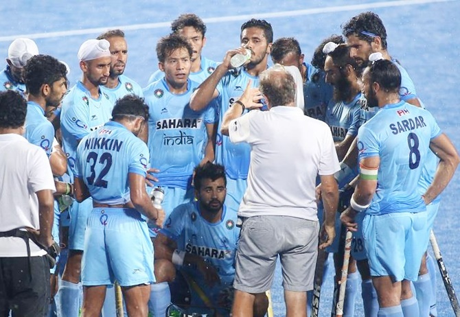 The Indian hockey team gets a pep talk from chief coach Roelant Oltmans