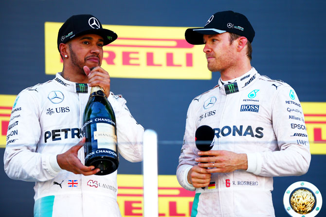 Mercedes teammates Nico Rosberg (right) and Lewis Hamilton in 2016.