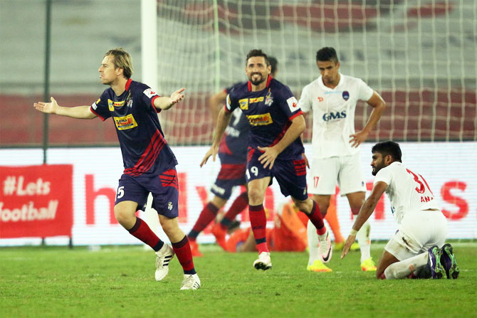 Atletico de Kolkata's Javier Lara celebrates a goal against Delhi Dynamos during their ISL match on Sunday