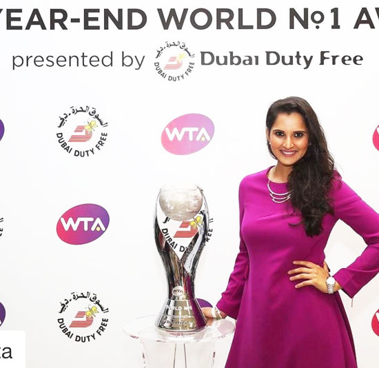 Sania Mirza with the WTA World No 1 Trophy on Sunday