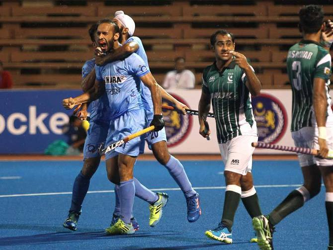 Indian players celebrate after they won the Asian Champion Trophy beating Pakistan 3-2 in the final at Kuantan, Malaysia, October 30, 2016. Photograph: Hockey India