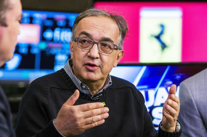 FCA Chief Executive and Ferrari Chairman Sergio Marchionne speaks during an interview
