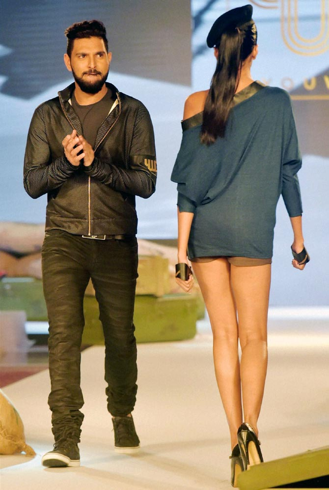 Yuvraj Singh walks the ramp at the launch of his clothing line YWC in September 2016