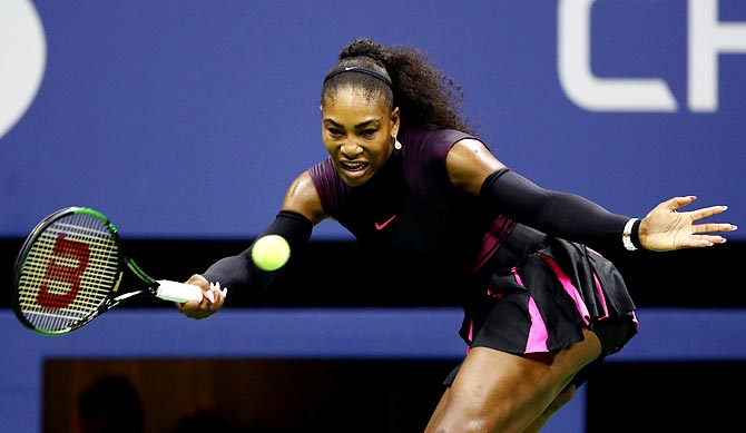 Serena Williams returns a shot during the women's singles semi-finals on Day 11 of the 2016 US Open