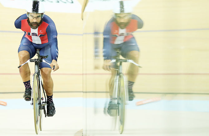 Joseph Berenyi of USA competes in the Men's C1-2-3 1000m Time Trial Track Cycling at the Rio 2016 Paralympic Games at the Olympic Velodrome on Saturday, September 10