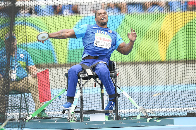 Johnnie Williams of the USA competes in the men's discus throw - F56 at the Olympic stadium on Saturday, September 10