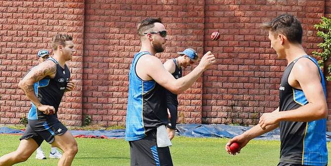 New Zealand bowlers sweat it out during practice in New Delhi on Thursday