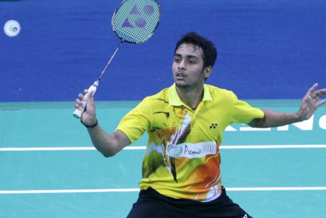 India's badminton player Sourabh Verma in action