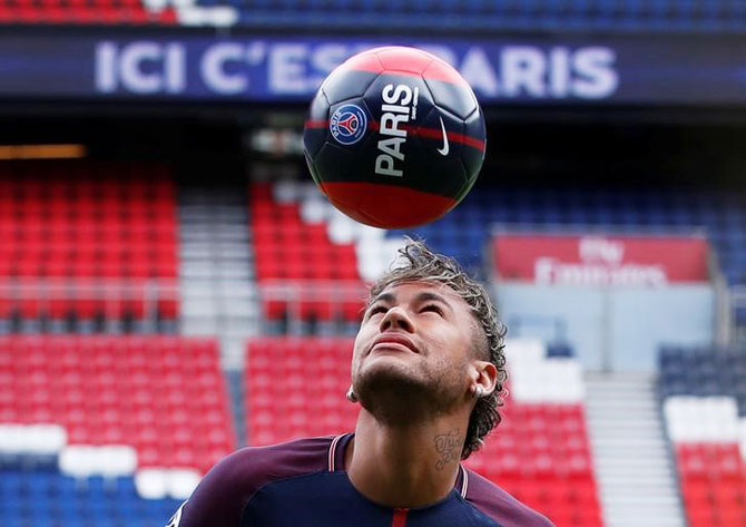 New Paris Saint-Germain signing Neymar Jr at the unveiling on Friday