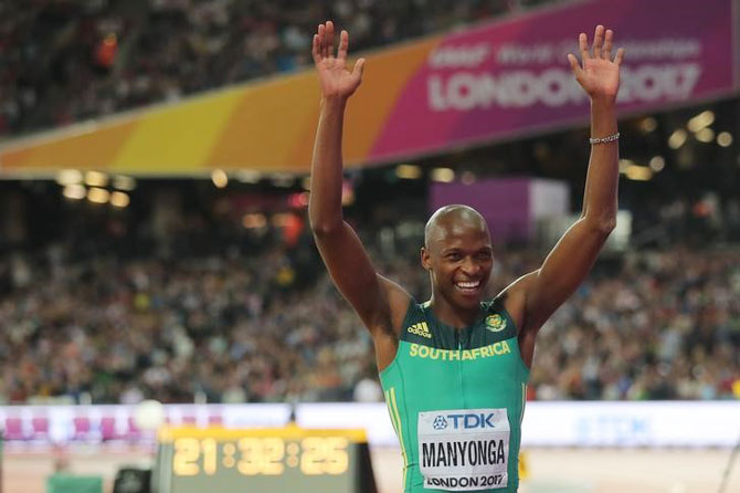 Luvo Manyonga of South Africa reacts after winning gold in the men's long jump final at the World Athletics Championships in London on Saturday