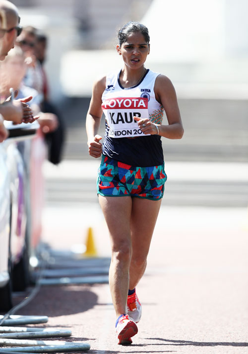 India's Khushbir Kaur competes in the Women's 20km Race Walk final at the 16th IAAF World Athletics Championships at The Mall in London, United Kingdom, on Sunday