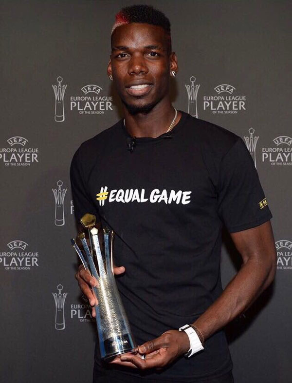 Paul Pogba with the UEFA Europa League player of the year award