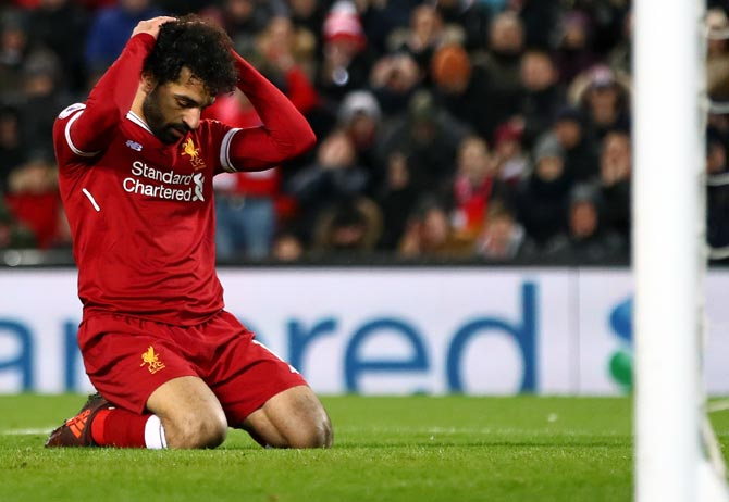 Mohamed Salah of Liverpool reacts after a near miss during the match against West Brom on Wednesday