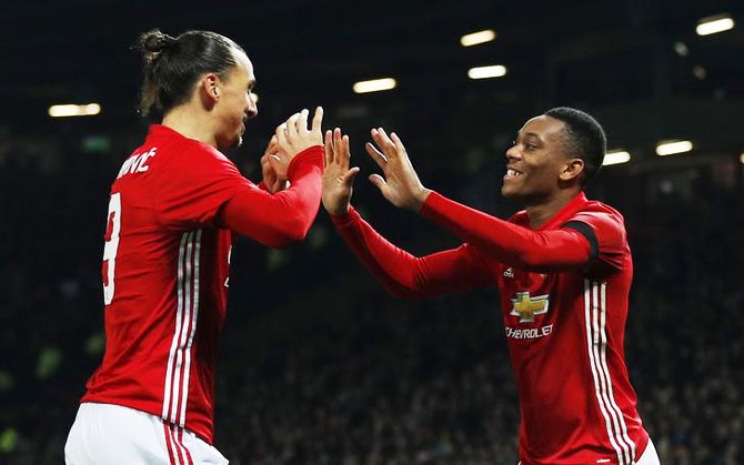 Manchester United's Zlatan Ibrahimovic and Martial