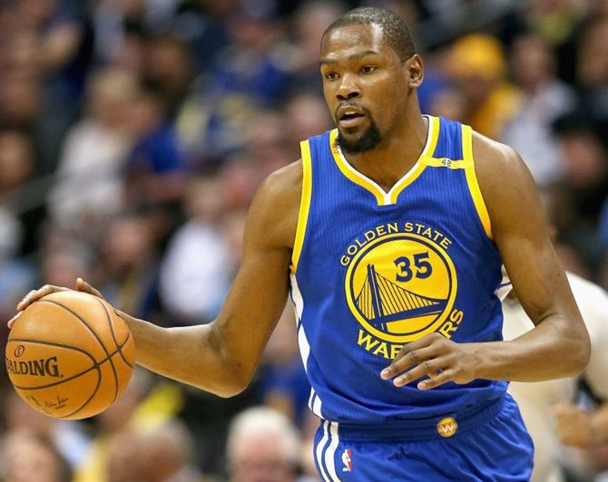 Kevin Durant of the Golden State Warriors in action