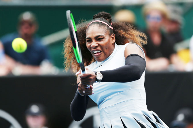 USA's Serena Williams plays a backhand in her match against France's Pauline Parmentier on day two of the ASB Classic in Auckland on Tuesday