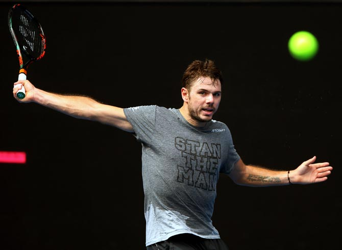Wawrinka hits a backhand during a practice session ahead of the 2017 Australian Open