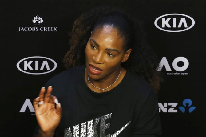Serena Williams of the US speaks during a news conference ahead of the Australian Open tennis tournament in Melbourne on Saturday