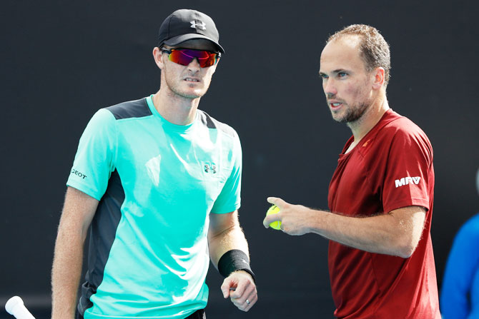 Great Britain's Jamie Murray and his doubles partner Brazil's Bruno Soares