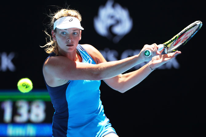 United States' Coco Vandeweghe plays a backhand in her quarter-final match against Spain's Garbine Muguruza on day nine of the 2017 Australian Open at Melbourne Park on Tuesday